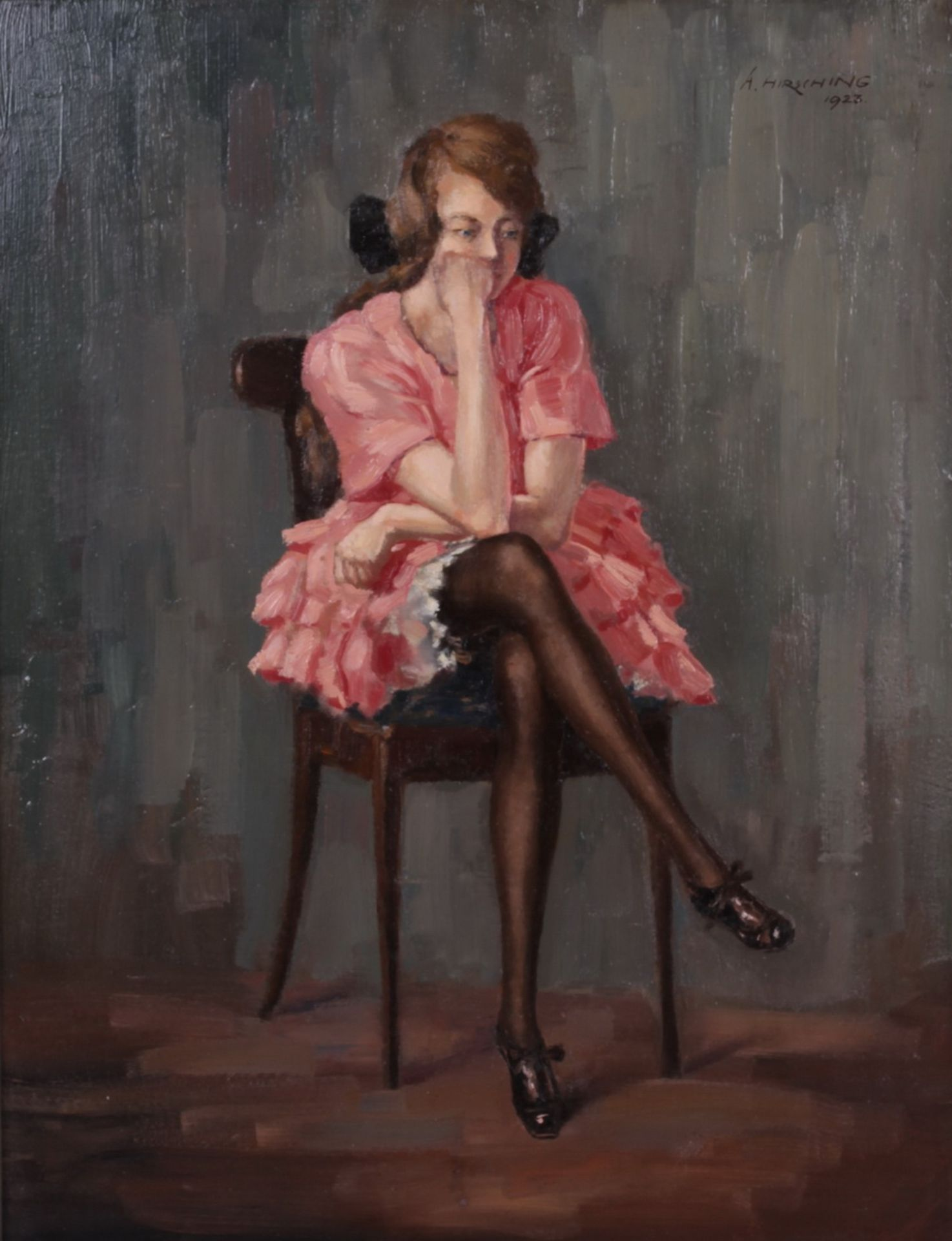 Hirshing, August. Sitting woman. <br>Signed and framed. 1923. Oil on cardboard. 49x38 cm.