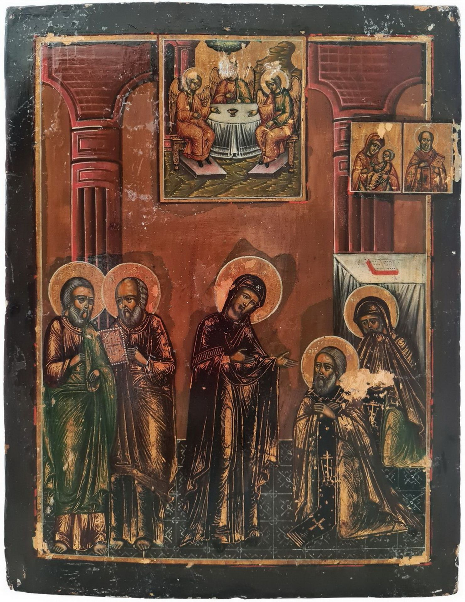 "Russian icon ""The Appearance of The Mother of God to St Sergey of Radonezh"". - 19th century; 30x23 c - Bild 3 aus 4"