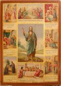 Monumental russian icon. Saint John Baptist, Forerunner in Vita. 19th century. 67x95 cm.