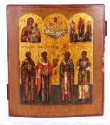 """Three-part Russian icon """"The Hierarchs, The Theotokos of Tikhvin, The birth of Christ""""."""