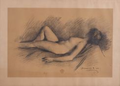 Unknown artist. Lying nude.