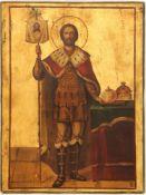 "Russian icon ""Saint Alexander Nevsky"", 19th century, 38x29 cm."