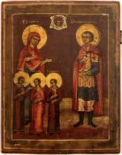 """Russian icon """"Saint Christopher and Saint Sofia with her daughters"""". 19th century, 36x28 cm."""