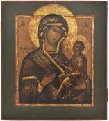 "Russian icon ""Tichvinskaya Mother of God""; 19th century, 36x31 cm."