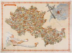 [Soviet art. Map of Czechoslovakia]. Economic map of Bohemia and Moravia. - Prague, 1939. 63x84 cm.