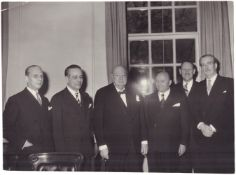 """Photograph """"Sir Winston Churchill and italian government delegation with Prime Minister of Italy Mar"""
