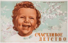 """[Soviet art]. Khomov, N. Advertising poster for documentary film """"Happy childhood"""". Moscow, 1953."""