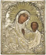 "Russian icon ""Kazanskaya mother of God"" in metal oklad, 19th century, 32x26 cm."