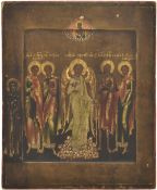 Russian icon with selected saints; 19th century, 24x20 cm.