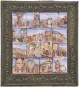 A russian icon showing Saint George with scenes from his life with metal oklad. 19th century, 22x20