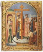 [Russian icon]. Exaltation of the True and Life Giving Cross. 19th century. 21,5x26,5 cm