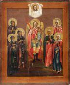[Large. Russian icon]. Saint Archangel Michael with saints Daria, Stefanida, Akilina, Marfa, Evdokia