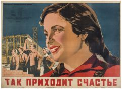 """[Soviet art].  Lemeschenko, A. Movie poster """"That's the way happiness  come to"""". Moscow, 1954."""