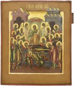 """Russian icon """"The Dormition of the mother of God""""; 19th century, 36x30 cm."""