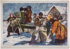 "[Soviet art]. Mikhailov, N, Lubok ""Grain-cleaning machine during work"". Moscow, 1930s."