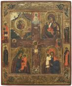 [Russian]. A quadri partite icon showing images of the mother of God; 19th century, 45x37 cm.