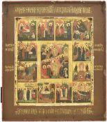 "Russian icon ""Resurrection of Christ"" and twelve major feast; 19th century, 31x27 cm."
