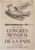 """[Soviet art]. Pablo Picasso. Poster """"Deuxieme congres mondial des partisans de la paix. Londres"""". -"""