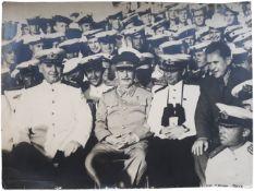 "[Soviet]. Joseph Stalin on a board of cruiser ""Molotov"". Photograph. 1947. 29,5x40 cm."