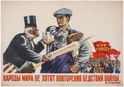 """[Soviet art]. Ganf, I.A. """"The nations don't want recurrence of calamity of war"""". Moscow; Leningrad,"""