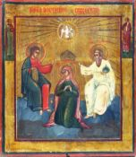 [Russian icon]. Our Lady Crowning. 19th century. 27x31 cm.