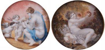 "Pair of porcelain paintings ""Cupids"". [XIX century]."