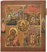 A multi partite icon showing images of the St George killing the Dragon, The fiery ascent of Elijah