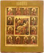 [Russian icon]. Many panels icon. 19th century. 26x31,5 cm.