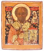 "Russian icon ""St. Nicholas Wonderworker"". - 18th century. - 32x27 cm."