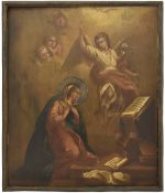 [Large Russian icon] The Annunciation of the mother of God in silver oklad. - 19th century.