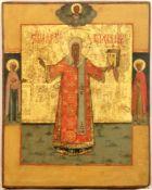 [Russian icon. Large]. Saint Aleksiy Mitropolit Moskovskiy. 18th-19th century. 28,5x36,5 cm