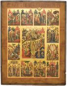 """Russian icon """"Resurrection of Christ"""" and Twelve major liturgical feast.; 19th century. 42x37 cm."""