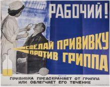 """[Soviet art]. Ignatiev, N. Poster """"Working man! Get a flu shot"""". - Moscow, 1959."""
