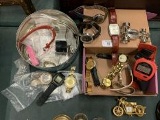 AN ASSORTMENT OF WRISTWATCHES AND VARIOUS WATCH PARTS