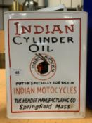 AN 'INDIAN MOTORCYCLES CYLINDER OIL' CAN WITH A BRASS TOP