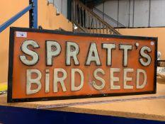 A 'SPRATT'S BIRD SEED' ILLUMINATED LIGHT BOX SIGN