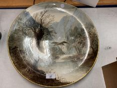 A HANDPAINTED COPELAND PORCELAIN CHARGER 'HAUNT OF THE HERON' SIGNED W YALE 40.5CM DIAMETER