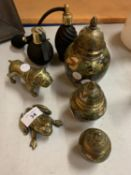 A SELECTION OF BRASS ITEMS TO INCLUDE TWO PERFUME BOTTLES