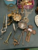 AN ASSORTMENT OF METAL WARE TO INCLUDE A SET OF NUTCRACKERS AND TWO BELLS ETC