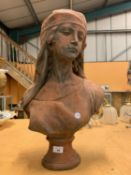 A LARGE TERRACOTTA BUST OF A CLASSICAL LADY HEIGHT APPROXIMATELY 55CM