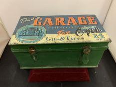 A VINTAGE STYLE ' DAD'S GARAGE ...' HINGE LIDDED TIN