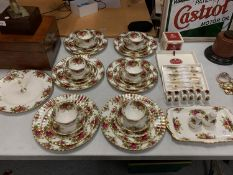 """A LARGE COLLECTION OF ROYAL ALBERT """"OLD COUNTRY ROSES"""" TO INCLUDE SIX PLACE SETTINGS, NAPKIN RINGS"""