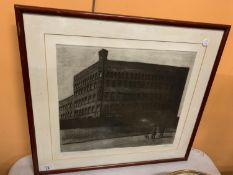 A FRAMED LIMITED EDITION PENCIL DRAWING OF THE BAELZ FACTORY SIGNED