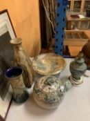 AN ASSORTMENT OF STUDIO POTTERY ITEMS TO INCLUDE A LAMP BASE, A LUSTRED BOWL AND A VERY UNUSUAL