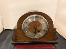 AN OAK WESTMINSTER CHIMING MANTLE CLOCK