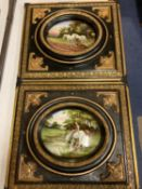 A PAIR OF ORNATE FRAMED VICTORIAN HAND PAINTED DOULTON OVAL PLAQUES SIGNED H MORRAY