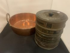 A LARGE COPPER BOWL (D:37CM) AND A VINTAGE BRASS STACK OF RIDSDALE AND CO LTD SAND TESTING SIEVES