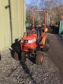 KUBOTA B1750 COMPACT TRACTOR SERIAL NO 67588 WITH LEWIS FORE END LOADER LEWIS BACK ACTOR (BOTH TAKEN