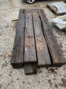 "EIGHT EX RAILWAY SLEEPERS 8' 6"" LONG - NO VAT"