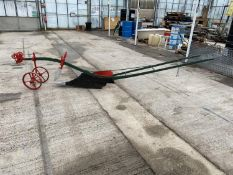 A VINTAGE SINGLE FURROW HORSE PLOUGH PAINTED +VAT